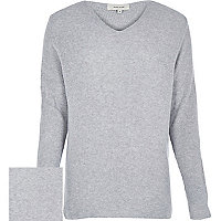 Grey V-neck long sleeve jumper