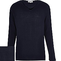 Navy blue V-neck long sleeve jumper