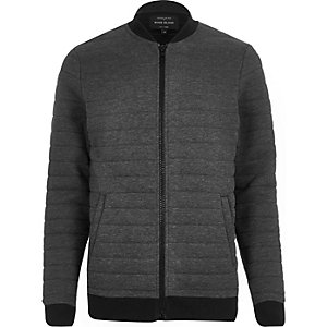 Dark grey quilted bomber jacket