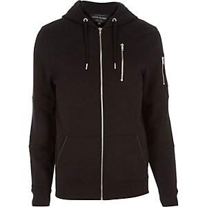 Black zip pocket long sleeve hoodie