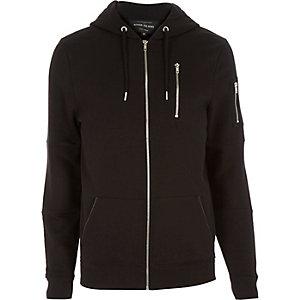 Black zip pocket long sleeve hoodie