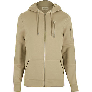 Stone zip pocket long sleeve hoodie