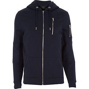 Navy zip pocket long sleeve hoodie