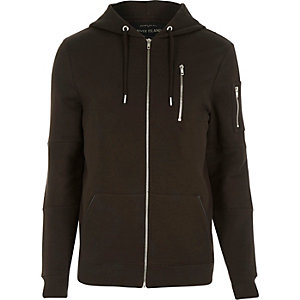 Brown zip pocket long sleeve hoodie