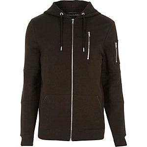 Brown zip pocket long sleeve hoodie