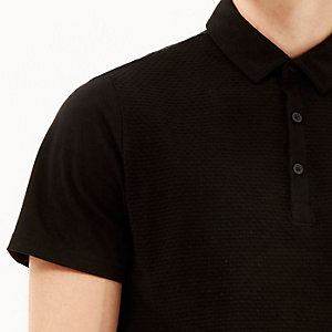 Black dotty textured polo shirt