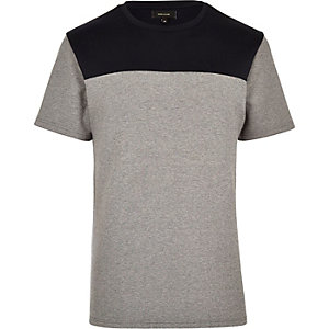 Grey split design t-shirt