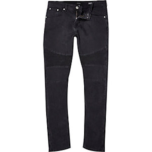 Worn black Sid skinny stretch biker jeans