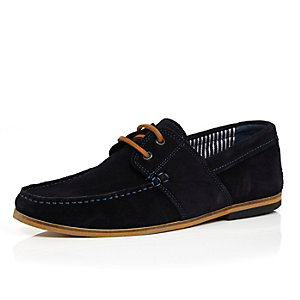 Navy suede lace up boat shoes