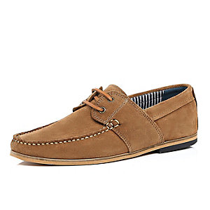 Brown suede lace up boat shoes