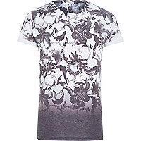 White and black floral print dip dye t-shirt