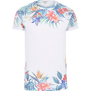 White summer floral print t-shirt
