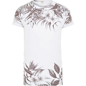 White and black summer floral print t-shirt
