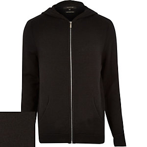 Black merino zip-up hoodie