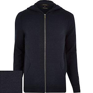 Navy merino zip-up hoodie