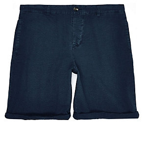 Navy seersucker slim shorts