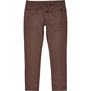 Brown five pocket slim fit trousers