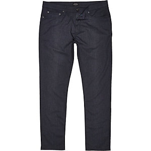 Navy five pocket slim fit trousers