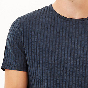 Navy blue chunky ribbed short sleeve t-shirt