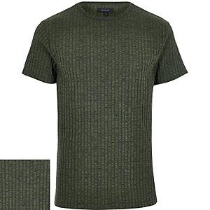Dark green ribbed short sleeve t-shirt