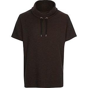 Dark brown cowl neck short sleeve sweatshirt