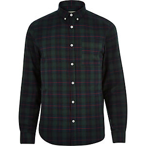 Green check brushed flannel shirt