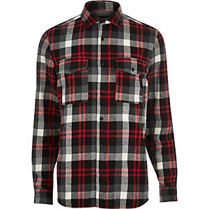 Red check two pocket flannel shirt