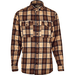 Brown check two pocket flannel shirt