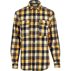 Yellow check two pocket flannel shirt