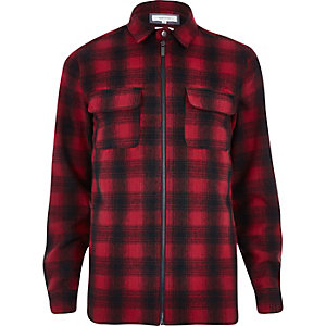 Red check zip through shirt jacket