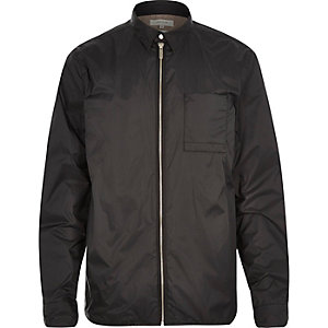 Black nylon shirt jacket