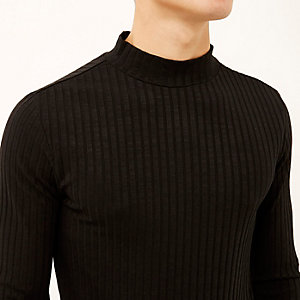 Black chunky ribbed turtle neck