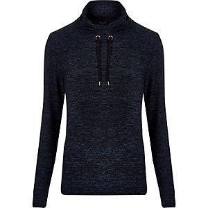 Dark blue marl cowl neck sweatshirt