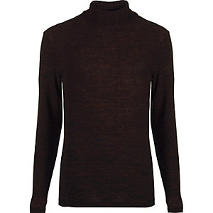 Dark brown jersey roll neck