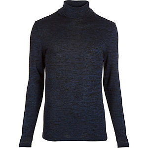 Blue jersey roll neck