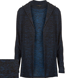 Blue marl hooded cardigan