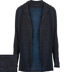 Blue marl hooded cardigan