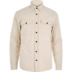 Ecru herringbone two pocket shirt