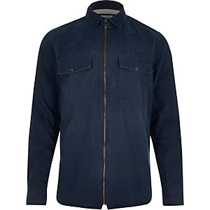 Navy zip-up two pocket shirt