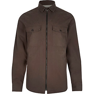 Brown zip-up two pocket overshirt