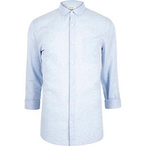 Blue linen-blend shirt
