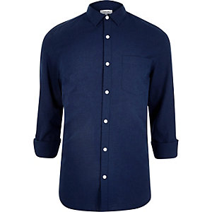 Navy blue linen-blend shirt