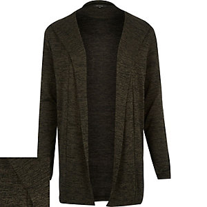 Green marl hooded cardigan