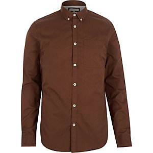 Red twill button down collar shirt