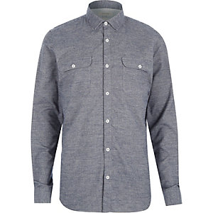 Grey brushed flannel two pocket shirt