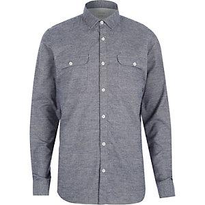 Grey brushed flannel two pocket shirt