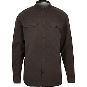 Brown brushed flannel two pocket shirt