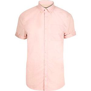 Pink short sleeve twill shirt