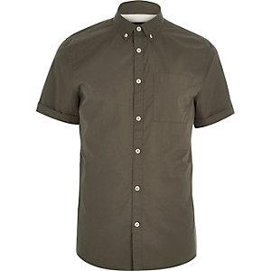 Khaki twill short sleeve shirt