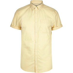 Light yellow short sleeve twill shirt